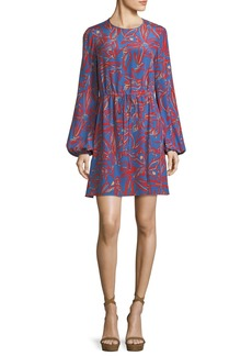 Diane von Furstenberg Jewel-Neck Long-Sleeve Tie-Waist Mini Dress