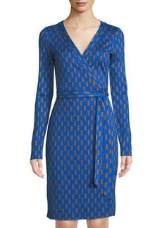 Diane von Furstenberg Julian Printed Long-Sleeve Banded Wrap Dress