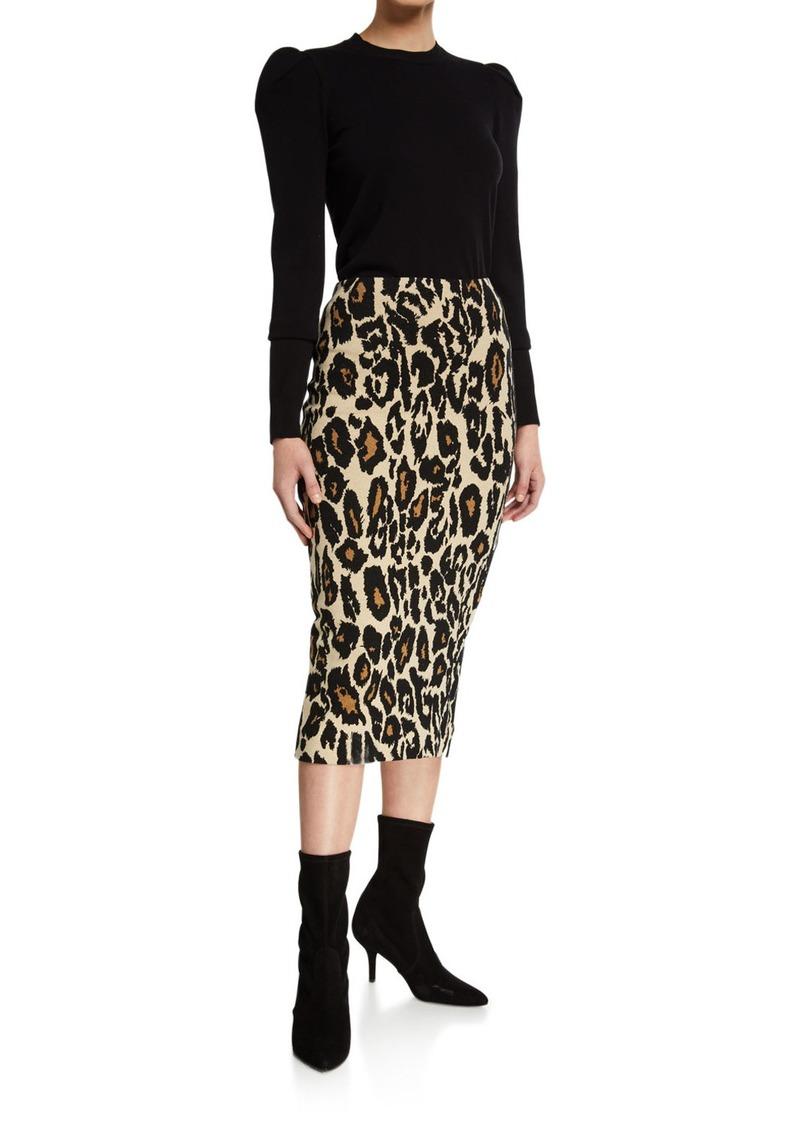 Diane von Furstenberg Kara Leopard-Print Midi Skirt