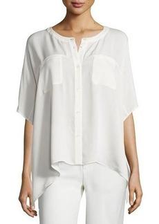 Diane von Furstenberg Karrly Dolman-Sleeve Silk Button-Front Top