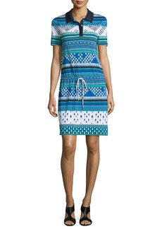 Diane von Furstenberg Kassie Printed Short-Sleeve Polo Dress
