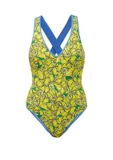 Diane Von Furstenberg Katelyn crossover-back lemon-print swimsuit