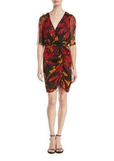 Diane von Furstenberg Kelda Floral Ruched Half-Sleeve Dress