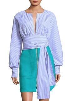 Diane Von Furstenberg Striped Plungle Self-Tie Blouse