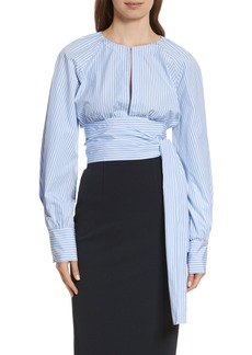 Diane von Furstenberg Keyhole Crop Cotton Blouse