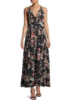 Diane von Furstenberg Keyhole Halter Tie-Waist Floral Maxi Dress