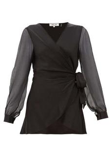 Diane Von Furstenberg Klee silk-sleeve satin wrap blouse