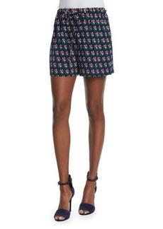 Diane von Furstenberg Kyle Silk Zen Flora Drawstring Shorts