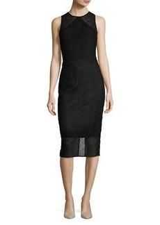 Diane von Furstenberg Lace & Basketweave Sheath Dress