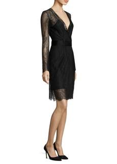 Diane von Furstenberg Lace Overlay Wrap Dress