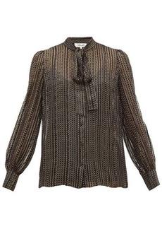 Diane Von Furstenberg Lanie metallic silk blend-georgette blouse