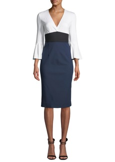 Diane von Furstenberg Lauren Colorblock Bell-Sleeve Midi Dress