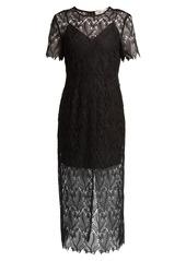 Diane Von Furstenberg Leaf and floral macramé-lace pencil dress
