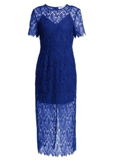 Diane Von Furstenberg Leaf and floral macramé-lace pencil dress
