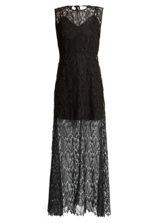 Diane Von Furstenberg Leaf and floral macramé-lace sleeveless gown