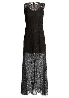 Diane Von Furstenberg Leaf and floral macramé-lace sleeveless gown