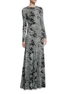 Diane von Furstenberg Leaf-Print Silk Long-Sleeve Gown