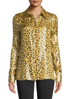 Diane von Furstenberg Leopard-Print Metallic Button-Front Shirt