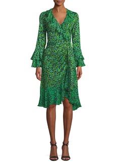 Diane von Furstenberg Leopard-Print Silk Ruffle Wrap Dress