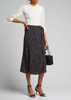 Diane von Furstenberg Lesley Crepe Midi A-Line Skirt
