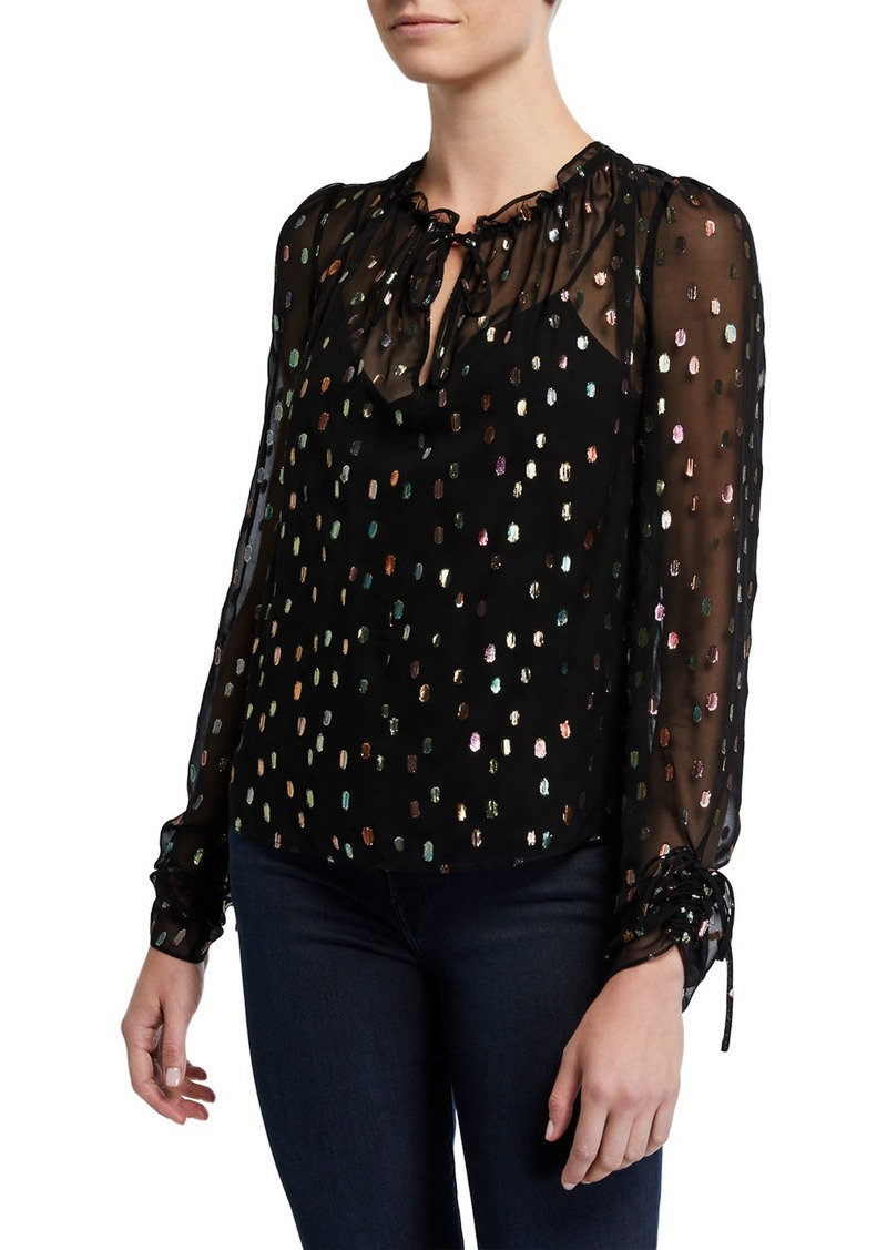 Diane von Furstenberg Lilian Metallic Long-Sleeve Top