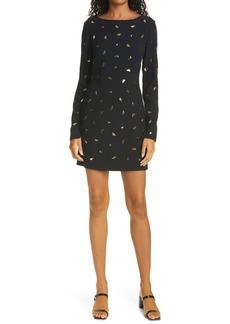 Diane von Furstenberg Lisandra Metallic Print Long Sleeve Dress