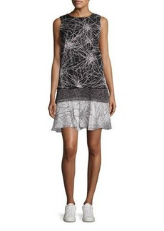 Diane von Furstenberg Liza Mixed-Print Tiered Tank Dress