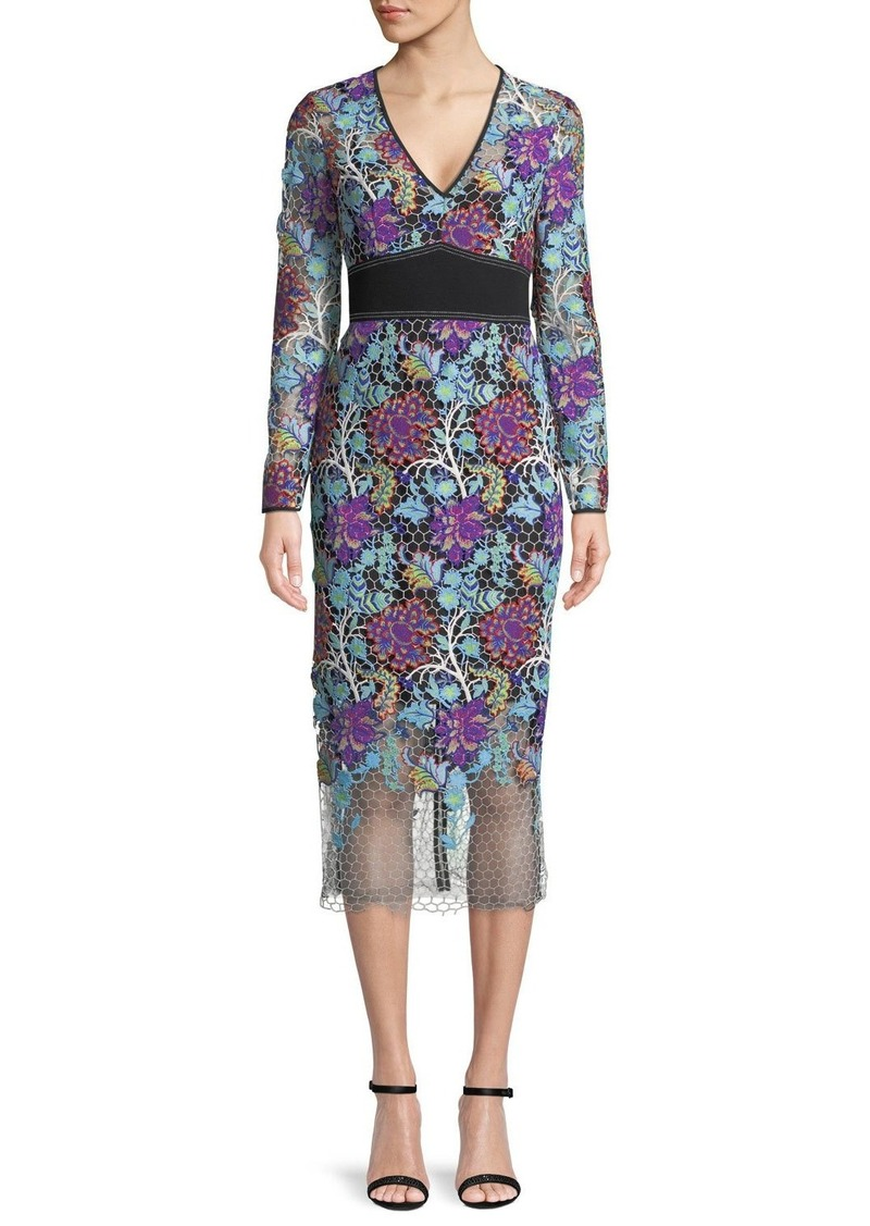 Diane Von Furstenberg Long-Sleeve Banded Overlay Lace Midi-Length Dress