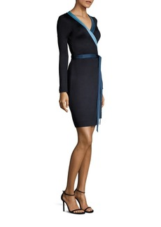 Diane von Furstenberg Long Sleeve Banded Silk Blend Wrap Dress