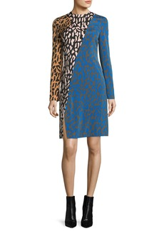 Diane von Furstenberg Long-Sleeve Bias Fitted Silk Dress