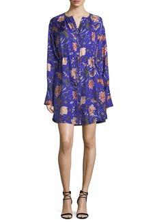 Diane von Furstenberg Long-Sleeve Cinched Waist Floral-Print Shirtdress