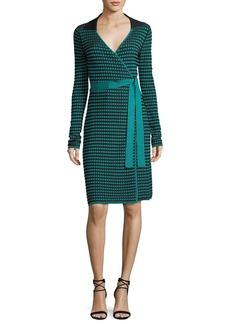 Diane von Furstenberg Long-Sleeve Collared Check Wrap Dress