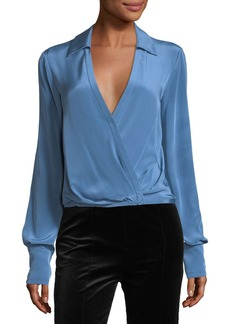 Diane von Furstenberg Long-Sleeve Collared Crossover-Bodice Silk Blouse