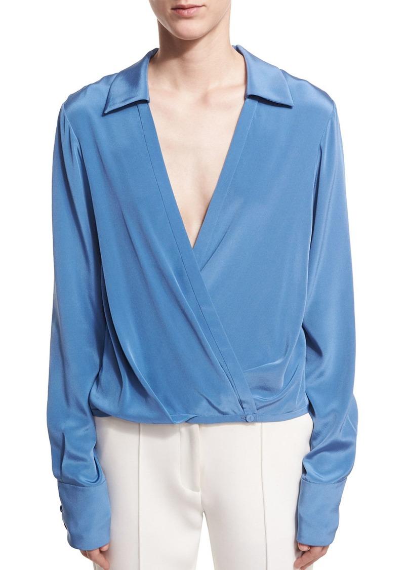 925c675ba6a92 Diane von Furstenberg Long-Sleeve Collared Crossover-Bodice Silk Blouse