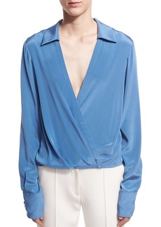 Diane von Furstenberg Long-Sleeve Collared Crossover-Bodice Silk Blouse