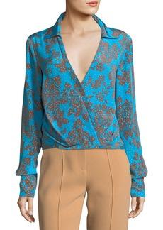 Diane von Furstenberg Long-Sleeve Collared Crossover Silk Blouse