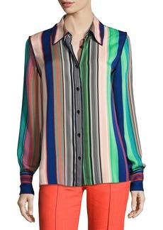 Long-Sleeve Collared Silk Shirt