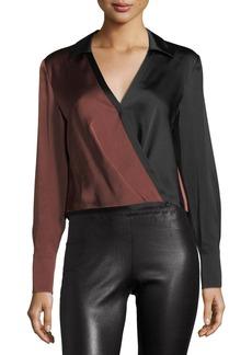 Diane von Furstenberg Long-Sleeve Collared Two-Tone Satin Blouse