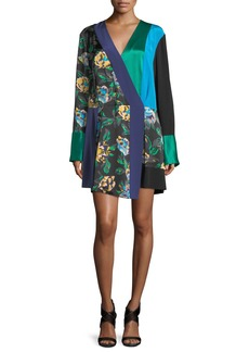 Diane von Furstenberg Long-Sleeve Colorblocked Crossover Silk Dress