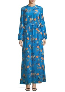 Diane von Furstenberg Long-Sleeve Crewneck Floor-length Silk Dress