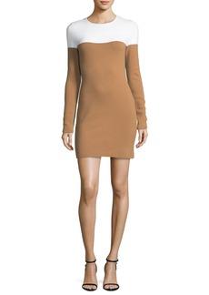 Diane von Furstenberg Long-Sleeve Crewneck Knit Colorblocked Mini Dress