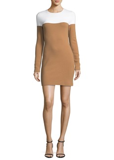 Diane von Furstenberg Long-Sleeve Crewneck Knit Colorblocked Mini Dress