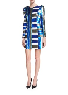 Diane von Furstenberg Long-Sleeve Crewneck Sequin Mini Cocktail Dress