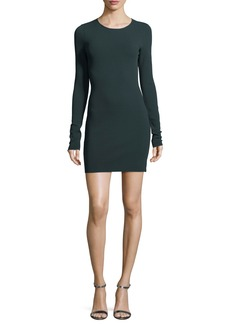Diane von Furstenberg Long-Sleeve Crewneck Two-Tone Mini Dress