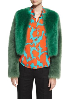Diane von Furstenberg Long-Sleeve Cropped Fur Jacket