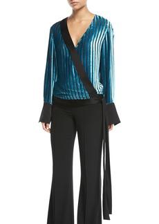 Diane Von Furstenberg Long-Sleeve Crossover Velvet Blouse