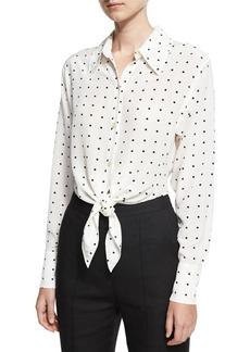 Diane von Furstenberg Long-Sleeve Dotted Front-Tie Shirt
