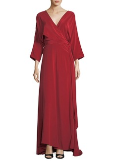 Diane von Furstenberg Long-Sleeve Floor-Length Silk Faux-Wrap Dress