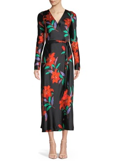 Diane von Furstenberg Long-Sleeve Floral Silk Wrap Dress