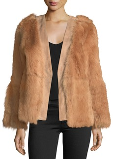 Diane von Furstenberg Long-Sleeve Fur Wrap Jacket
